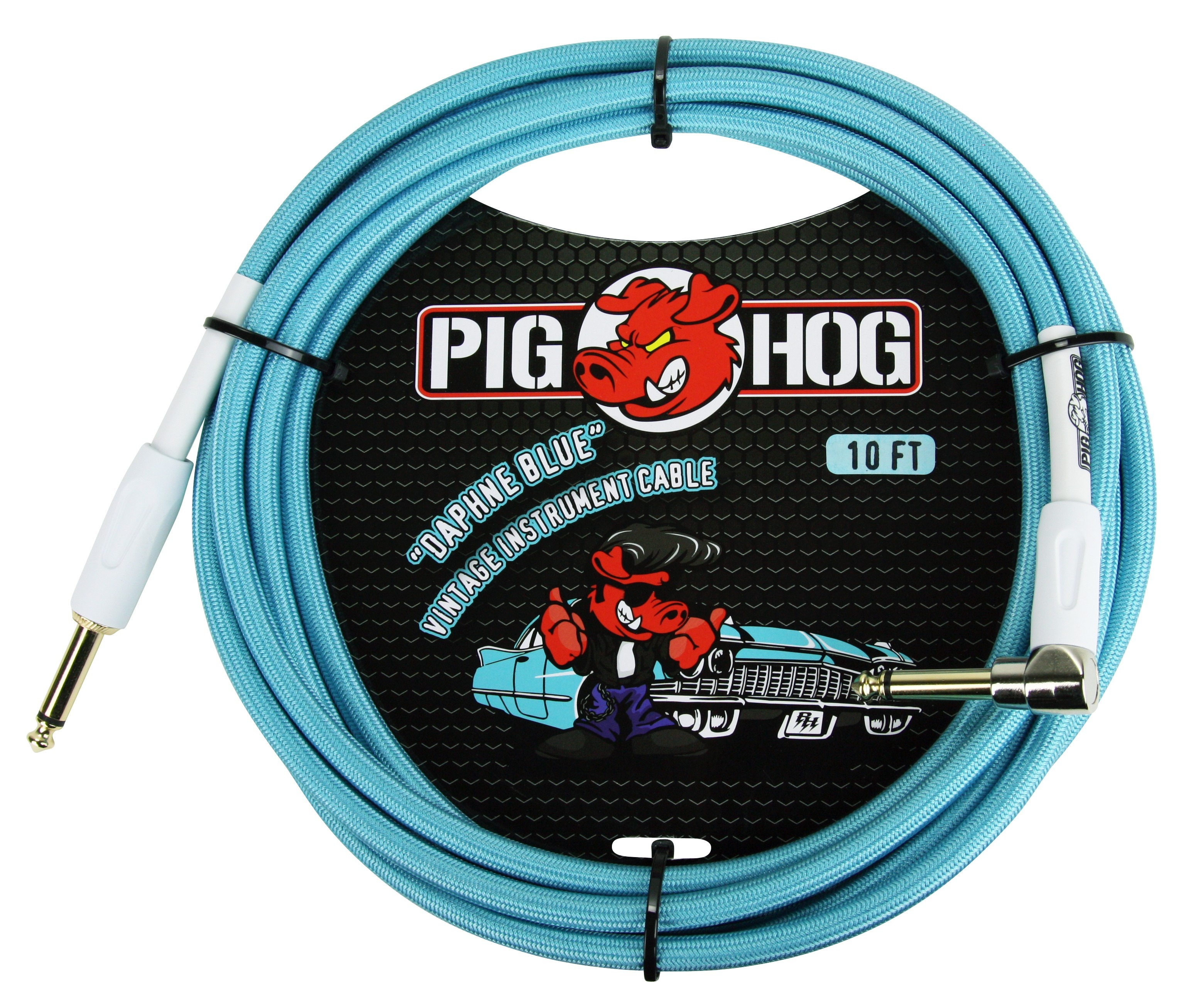 "Pig Hog 10ft x 8mm Vintage Series ""Daphne Blue"" Instrument Cable, 1/4"" Right Angle Connector"