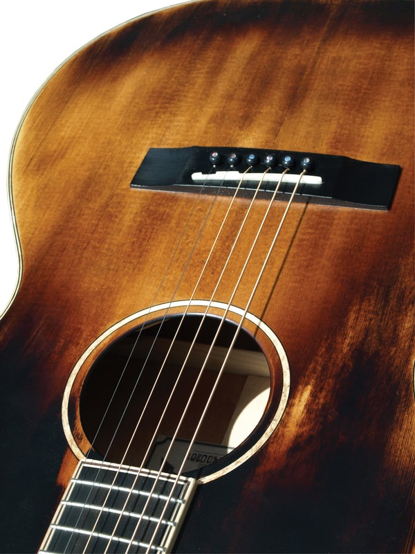 morgan monroe time worn electric acoustic guitar with soft case humidifier lets rock. Black Bedroom Furniture Sets. Home Design Ideas